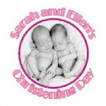 Personalised Girl Twins Photo Christening Sticker
